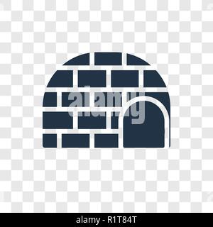 Igloo vector icon isolated on transparent background, Igloo transparency logo concept - Stock Photo