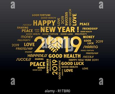 Gold greeting words around New Year date 2019, composed with a handshake heart symbol, on black background - Stock Photo
