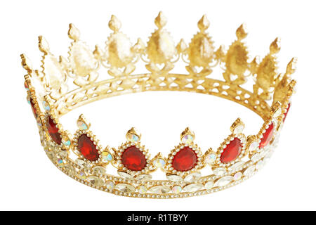 Golden crown with red and white diamonds. Gold tiara for princess. Expensive jewelry. Decoration for king or queen, magic crown isolated on white - Stock Photo