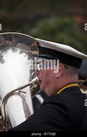 Royal Navy tuba player at Remembrance Day service in Helensburgh, Argyll, Scotland - Stock Photo