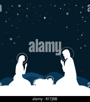 Christian Christmas scene with birth of Jesus and shining star on blue sky, illustration - Stock Photo