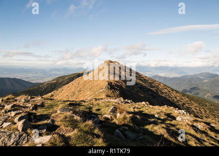 view to Zakluky hill covered by mountain meadow with few rocks from Polana hill in Nizke Tatry mountains in Slovakia during autumn day with blue sky a - Stock Photo