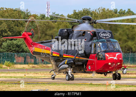 KLEINE BROGEL, BELGIUM - SEP 8, 2018: Belgian Air Force Sikorsky SH-3 Sea King Search And Rescue helicopter taxiing from the runway of Kleine-Brogel A - Stock Photo