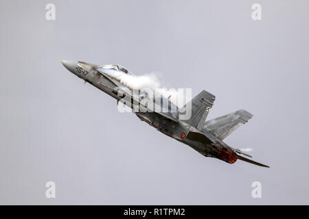 KLEINE BROGEL, BELGIUM - SEP 8, 2018: Spanish Air Force McDonnell Douglas F-18 Hornet fighter jet aircraft in flight above Kleine-Brogel Airbase. - Stock Photo