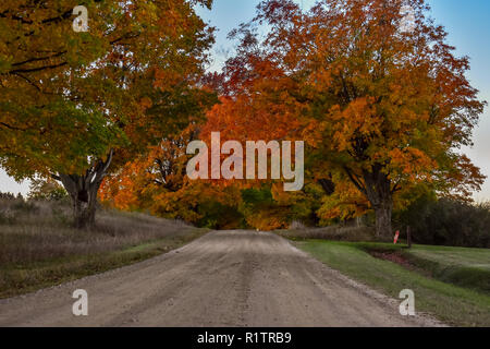 Rural country road, the fall colors were just beginning to show in the area. This road is in the middle of some state hunting land. Taken in October - Stock Photo