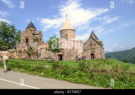 Dilijan, Armenia, August 24, 2018:View of the entire monastery complex Goshavank from the road in the  of gosh located near the town of Dilijan - Stock Photo
