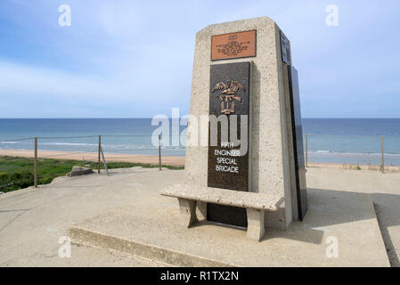 Fifth Engineer Special Brigade Memorial at Omaha Beach, Colleville-sur-Mer, Calvados, Normandy, France - Stock Photo