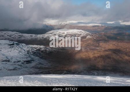 View of Loch Katrine from Ben Lomond, Scotland - Stock Photo