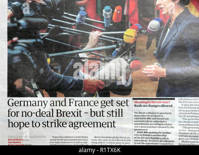 Newspaper headline 'Germany and France get set for no-deal Brexit - but still hope to strike agreement'  18 October 2018   London England UK - Stock Photo