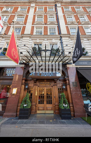 Low angle fisheye shot of facade of 41 Hotel in London, UK, near Buckingham Palace and Victoria Station. - Stock Photo