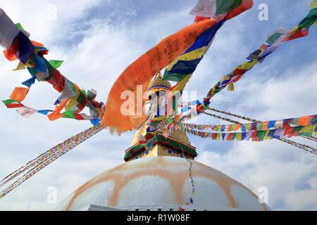 View of Boudhanath Stupa in Kathmandu in Nepal - Stock Photo