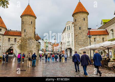 Tallinn Viru Gate, the eastern entrance to the central medieval Old Town. Tallinn, Harju County, Estonia, Baltic states, Europe. - Stock Photo