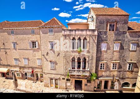 UNESCO Town of Trogir historic architecture view, Dalmatia region of Croatia - Stock Photo