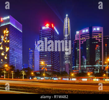 Shenzhen, China - financial district Futian and city center of the chinese mega city at Night with lot of illumination - Stock Photo
