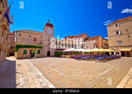 UNESCO Town of Trogir main square panoramic view in Dalmatia, Croatia - Stock Photo