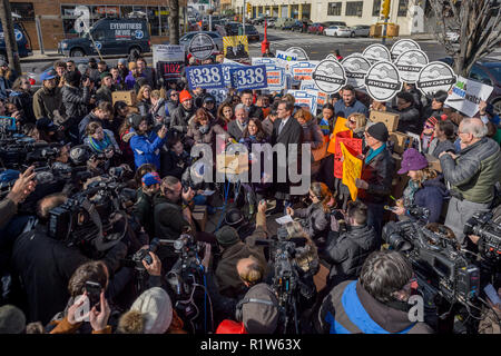New York, United States. 14th Nov, 2018. Labor groups, community groups, residents and elected officials gathered together on November 14, 2018 at Gordan Triangle in Long Island City, to say NO to the billions of dollars in subsidies for Amazon to locate to NYC. Credit: Erik McGregor/Pacific Press/Alamy Live News - Stock Photo