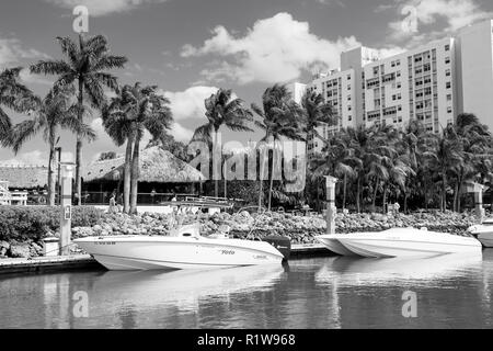 Miami, USA-February 19, 2017 :View of luxurious boats and yacht docked in a Miami South Beach Marina. Luxury lifestyle concept - Stock Photo