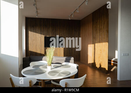 interior wide loft, beams and wooden floor - Stock Photo