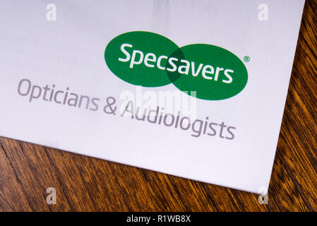 London, UK - November 14th 2018: A close-up of the Specsavers company logo, pictured on an information leaflet.  Specsavers is a British optical retai - Stock Photo