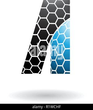 Vector Illustration of Black and Blue Letter A with Honeycomb Pattern isolated on a White Background - Stock Photo