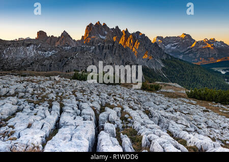 Karst mountains, Dolomites with first sunlight, South Tyrol, Italy - Stock Photo