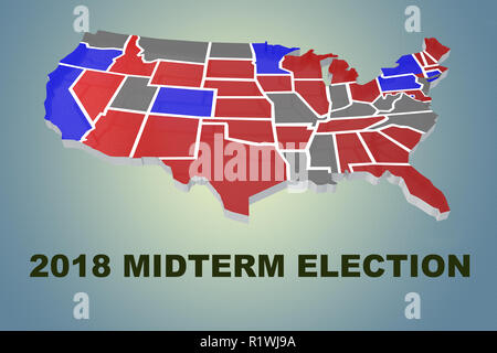 3D illustration of 2018 MIDTERM ELECTION script under an embossment of the United States of America - Stock Photo