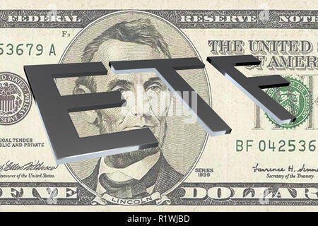 3D illustration of ETF title on Five Dollar bill as a background - Stock Photo