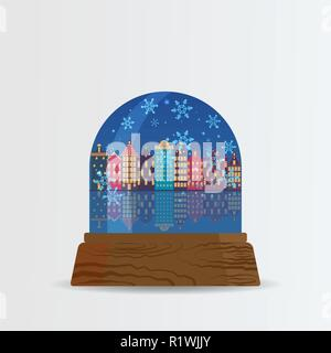Snow ball, snow globe with snow fall and Amsterdam street with frozen    Amstel river cartoon illustration for poster, card for print and web decorati - Stock Photo