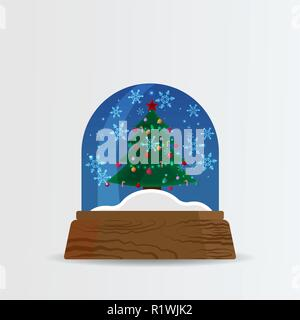Snow ball, snow globe with snow fall and Christmas tree cartoon illustration for poster, card for print and web decoration happy new year, merry xmas - Stock Photo