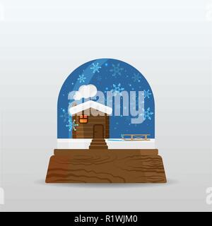 Snow ball, snow globe with little house , snow and sleigh, cartoon illustration for poster, card for print and web decoration happy new year, merry xm - Stock Photo