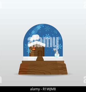 Snow ball, snow globe with little house , snow and snowman , cartoon illustration for poster, card for print and web decoration happy new year, merry  - Stock Photo