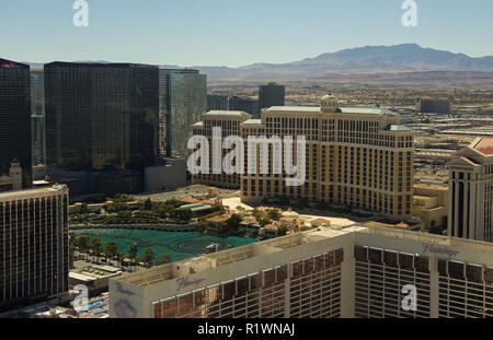 LAS VEGAS, NV, USA - September 15, 2018: Downtown, Las Vegas Strip, a view of Las Vegas boulevard and some hotel-casinos from roller coaster, daytime. - Stock Photo