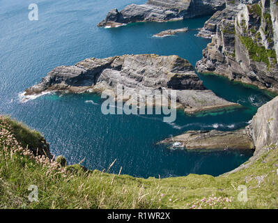 View of the sea at the Cliffs of Kerry near Portmagee in Ireland - Stock Photo
