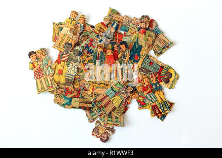 Old picture card paper figures on a  white background - Stock Photo