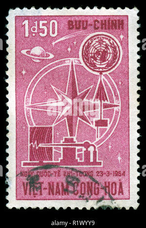Postage stamp from South Vietnam in the 4th World Meteorological Day series issued in 1964 - Stock Photo