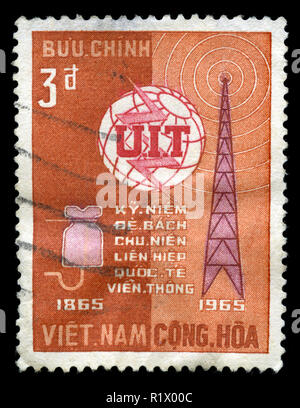 Postage stamp from South Vietnam in the UIT Centenary series issued in 1956 - Stock Photo