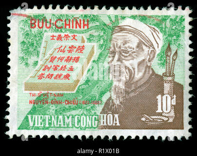 Postage stamp from South Vietnam in the Nguyen-Dinh-Chieu series issued in 1970 - Stock Photo