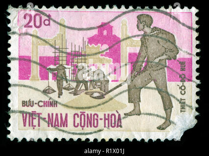 Postage stamp from South Vietnam in the Reconstruction of Hue series issued in 1970 - Stock Photo