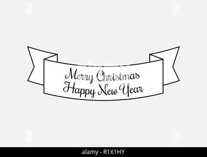 Vector Vintage Merry Christmas And Happy New Year - Stock Photo