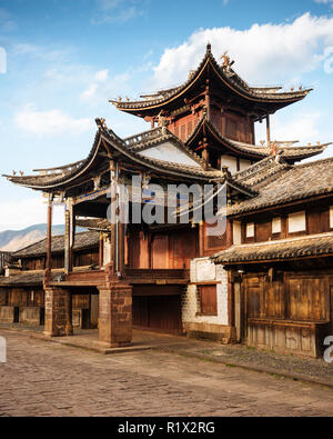 The Three Terraced Pavilion, Shaxi, Yunnan Province, China - Stock Photo