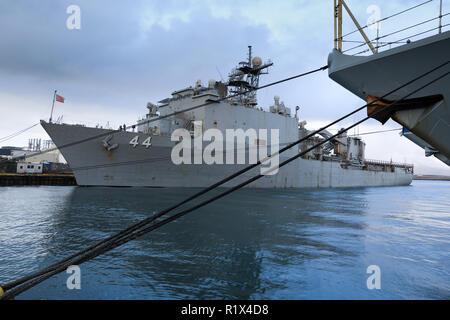 The amphibious dock landing ship USS Gunston Hall (LSD 44) moored alongside in Reykjavik - Stock Photo
