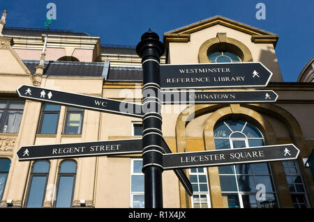 A directional sign guides tourists to London sights, at Trafalgar Square, London, England. - Stock Photo