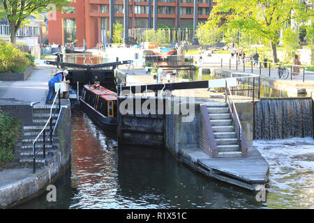 St Pancras Lock on Regents Canal in front of the Gasholder apartments, at Kings Cross, north London, UK - Stock Photo