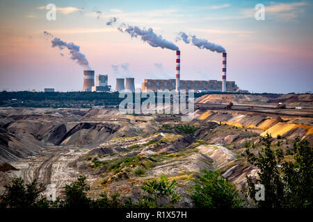 Brown Coal Mine and Power Station in Belchatow, Poland - Stock Photo