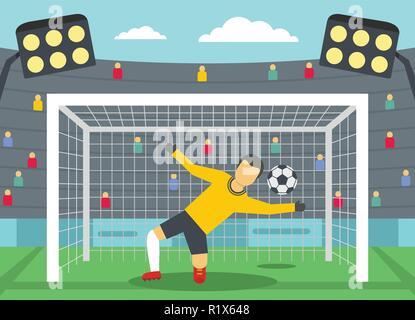 Soccer goalkeeper on stadium concept. Flat illustration of soccer goalkeeper on stadium vector banner horizontal concept for web - Stock Photo