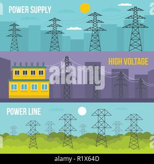 Electrical tower voltage banner horizontal concept set. Flat illustration of 3 electrical tower voltage vector banner horizontal concepts for web - Stock Photo