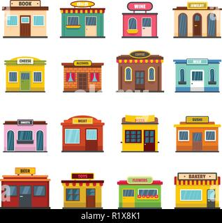Store facade front shop icons set. Flat illustration of 16 store facade front shop vector icons for web - Stock Photo