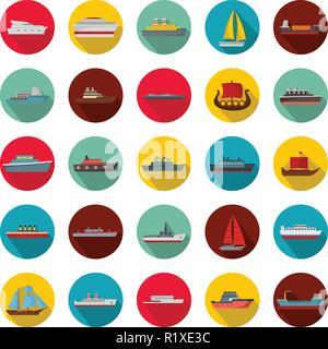 Marine vessels types icons set. Flat illustration of 25 marine vessel type vector icons circle isolated on white - Stock Photo