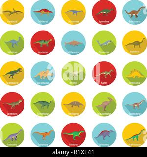Dinosaur types signed name icons set. Flat illustration of 25 dinosaur types signed name vector icons circle isolated on white - Stock Photo