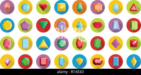 Jewel icons set. Flat illustration of 32 crystal jewel vector icons circle isolated on white - Stock Photo